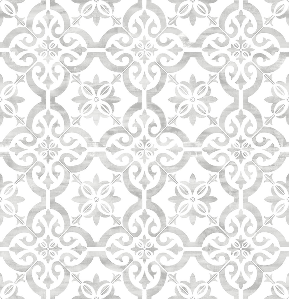 Sample Porto Tile Peel-and-Stick Wallpaper in Harbor Mist from the Luxe Haven Collection by Lillian August