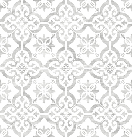 Porto Tile Peel-and-Stick Wallpaper in Harbor Mist from the Luxe Haven Collection by Lillian August