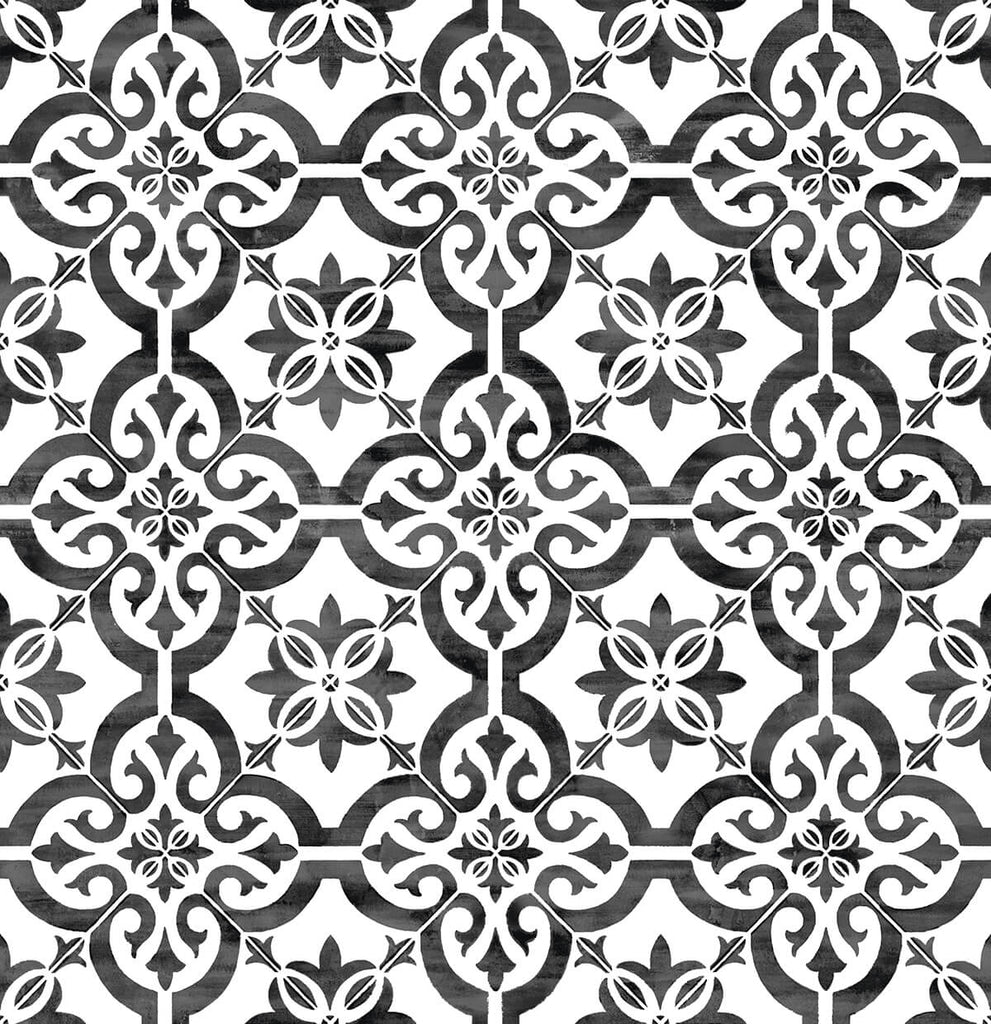 Sample Porto Tile Peel-and-Stick Wallpaper in Onyx from the Luxe Haven Collection by Lillian August