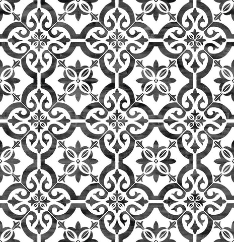 Porto Tile Peel-and-Stick Wallpaper in Onyx from the Luxe Haven Collection by Lillian August