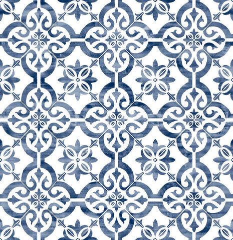 Porto Tile Peel-and-Stick Wallpaper in Riviera Blue from the Luxe Haven Collection by Lillian August