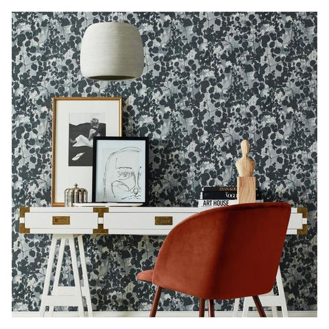 Pressed Leaves Wallpaper in Dark Grey from the Botanical Dreams Collection by Candice Olson for York Wallcoverings