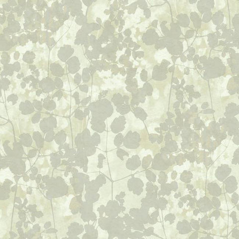 Pressed Leaves Wallpaper in Silver from the Botanical Dreams Collection by Candice Olson for York Wallcoverings