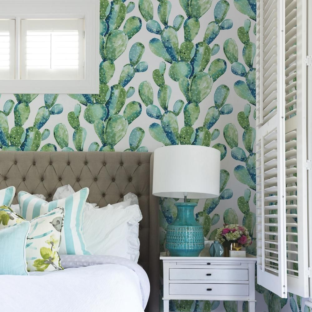 Prickly Pear Cactus Peel & Stick Wallpaper in Blue by RoomMates for York Wallcoverings