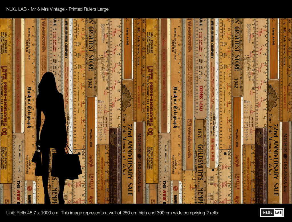 Sample Printed Rulers Wallpaper Large design by Mr. and Mrs. Vintage for NLXL Wallpaper