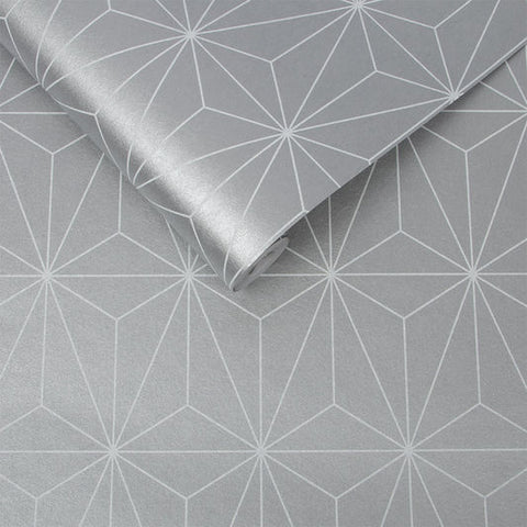 Prism Wallpaper in Silver from the Exclusives Collection by Graham & Brown