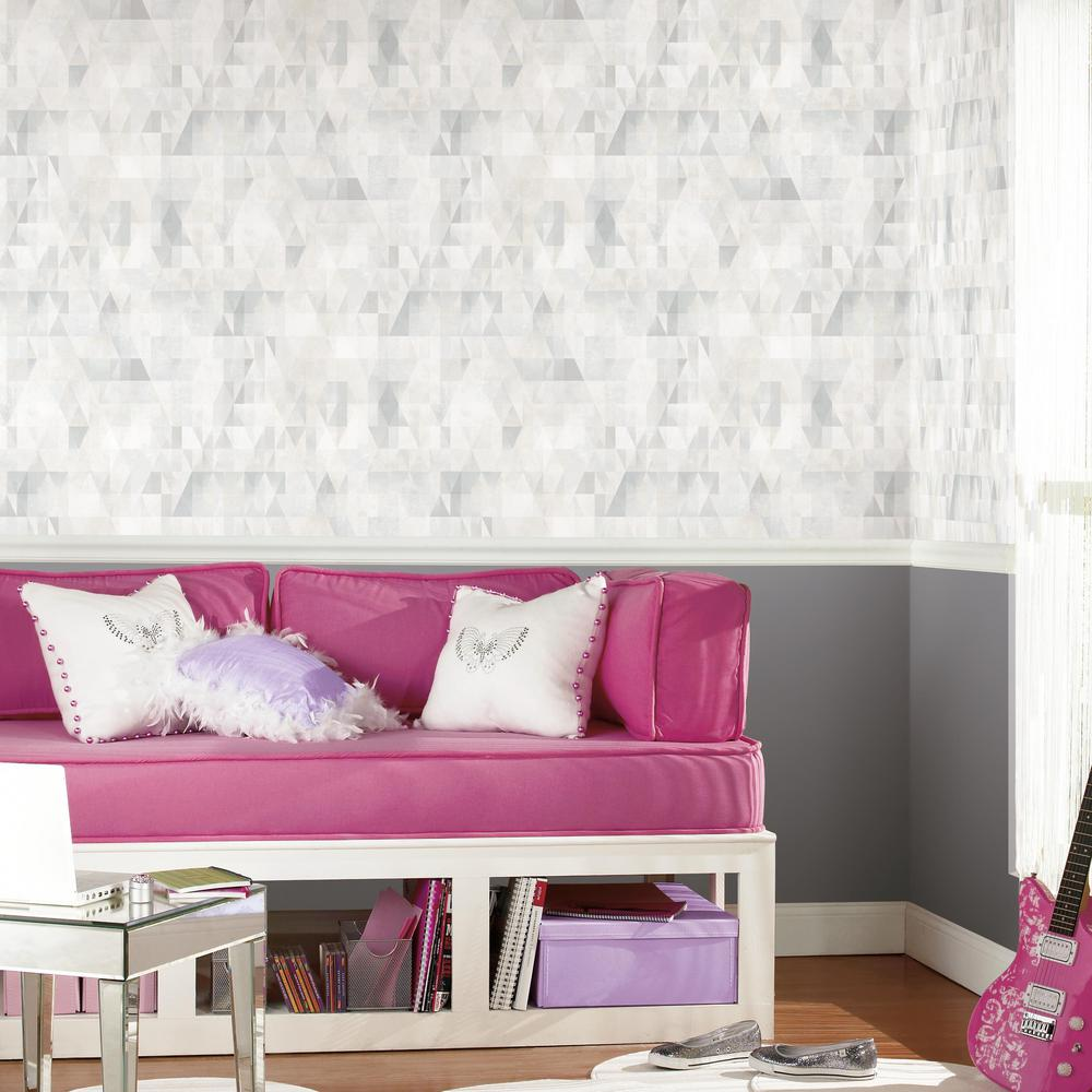 Prismatic Geo Peel & Stick Wallpaper in Grey by RoomMates for York Wallcoverings