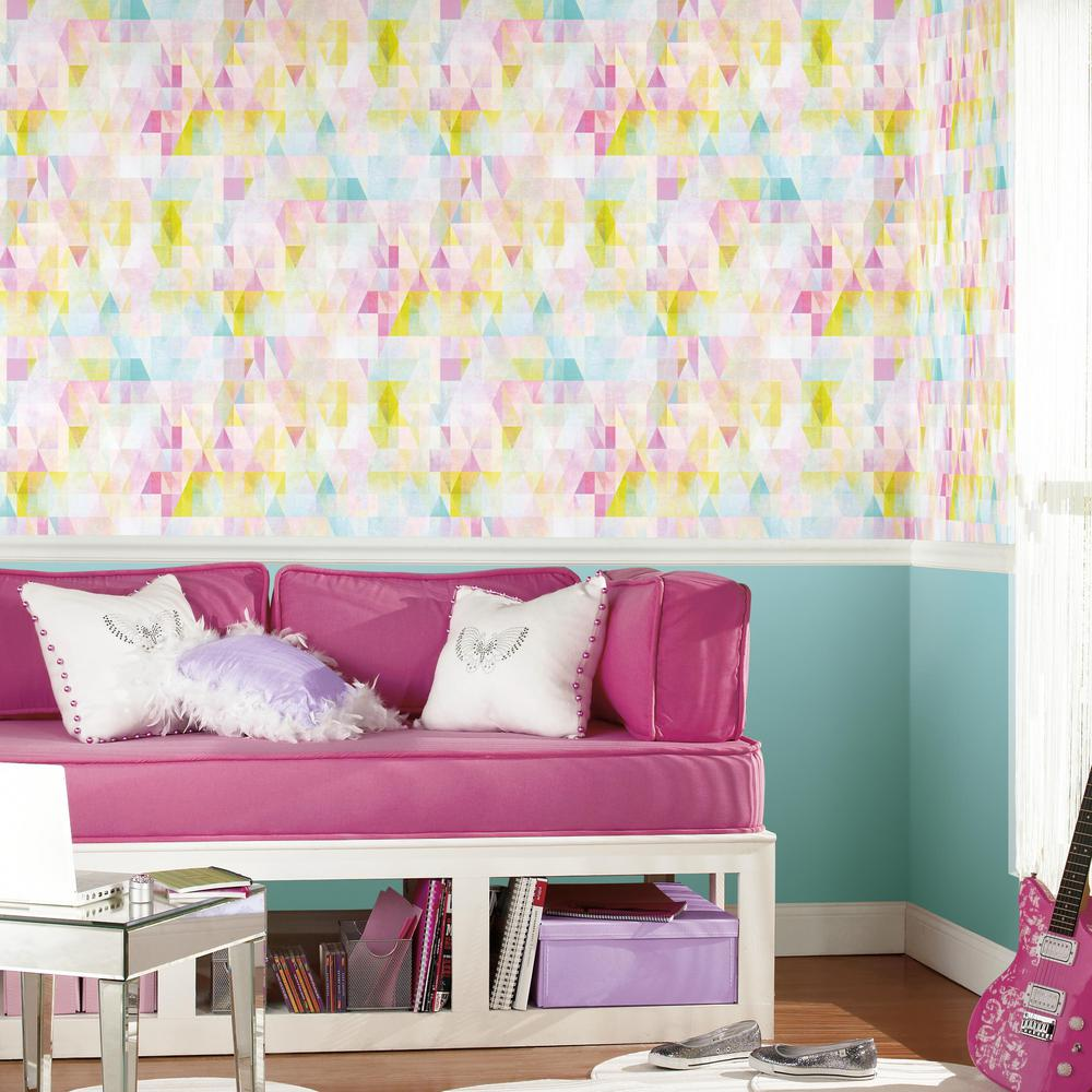 Prismatic Geo Peel & Stick Wallpaper in Pink and Multi by RoomMates for York Wallcoverings