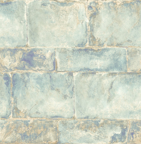 Provence Wallpaper in Blue and Sand from the Solaris Collection by Mayflower Wallpaper
