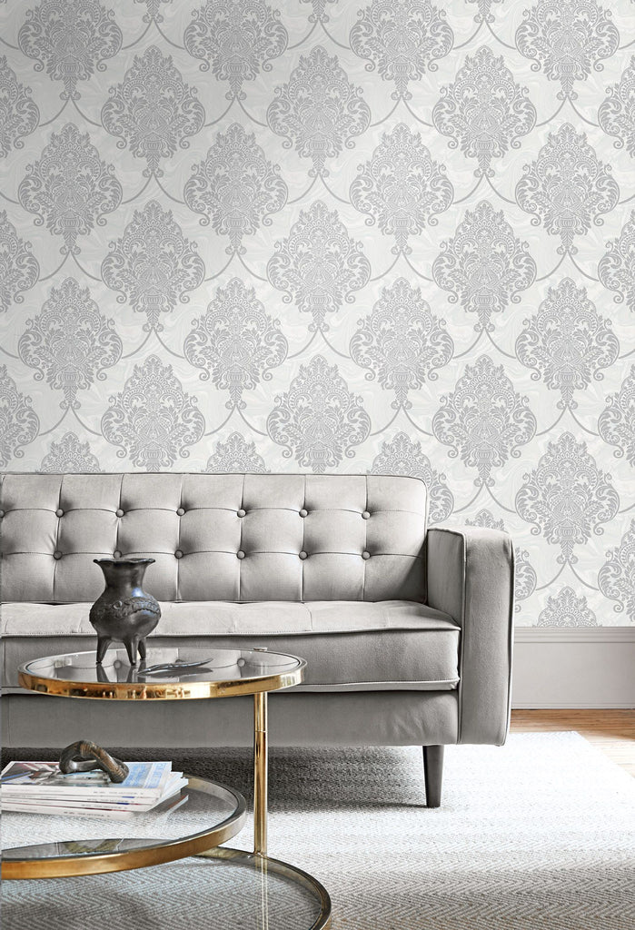 Puff Damask Wallpaper from the Casa Blanca II Collection by Seabrook Wallcoverings