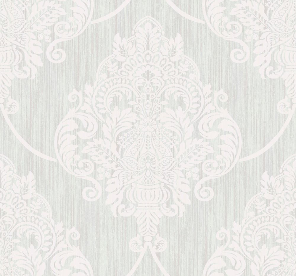 Sample Puff Damask Wallpaper in Silver Glitter and Ivory from the Casa Blanca II Collection by Seabrook Wallcoverings