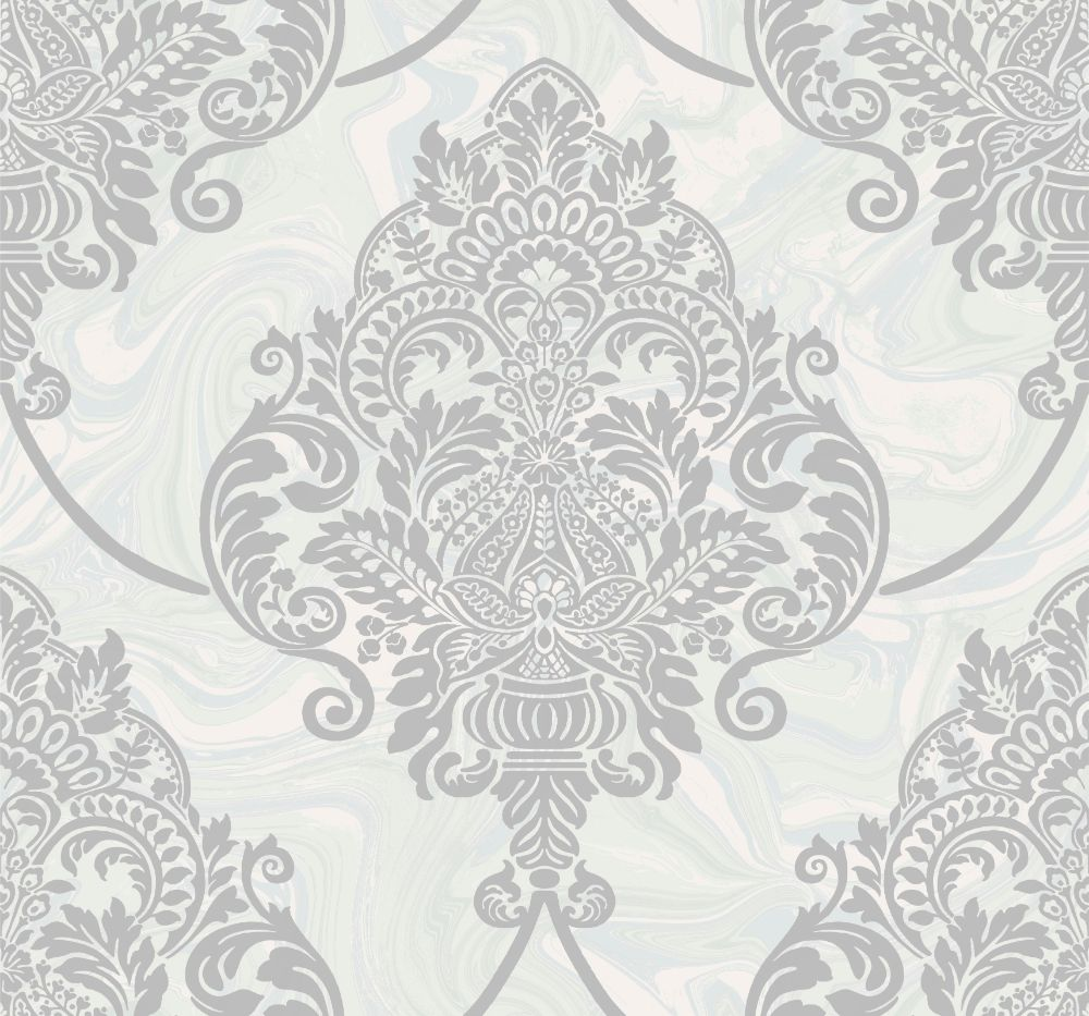 Sample Puff Damask Wallpaper in Silver Glitter and Off-White from the Casa Blanca II Collection by Seabrook Wallcoverings