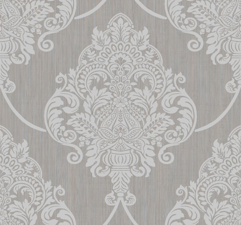 Puff Damask Wallpaper in Silver Glitter and Tan from the Casa Blanca II Collection by Seabrook Wallcoverings