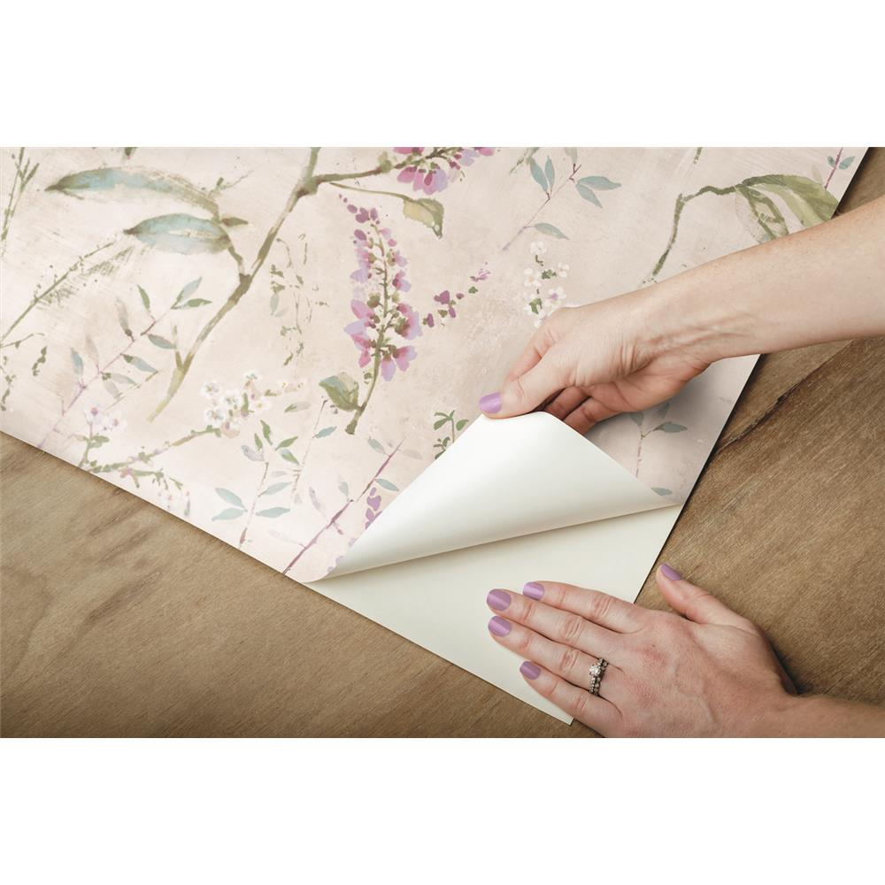 Purple Floral Sprig Peel & Stick Wallpaper by RoomMates ...