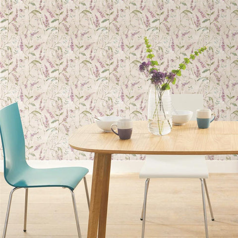 Purple Floral Sprig Peel & Stick Wallpaper by RoomMates for York Wallcoverings