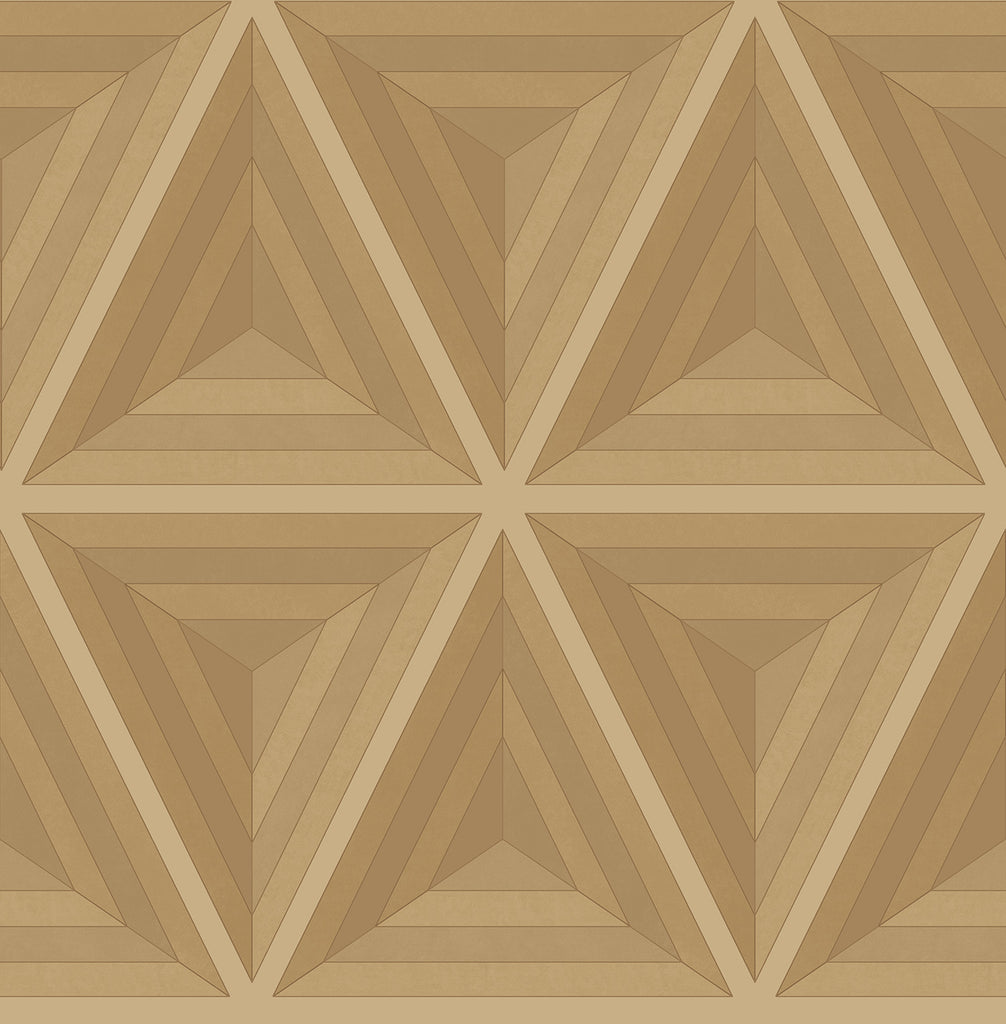 Sample Pyramid Wallpaper in Gold, Bronze, and Gunmetal from the Watercolor Florals Collection by Mayflower Wallpaper
