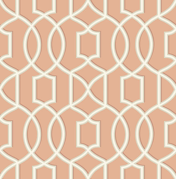 Sample Quantum Coral Trellis Wallpaper from the Symetrie Collection by Brewster Home Fashions