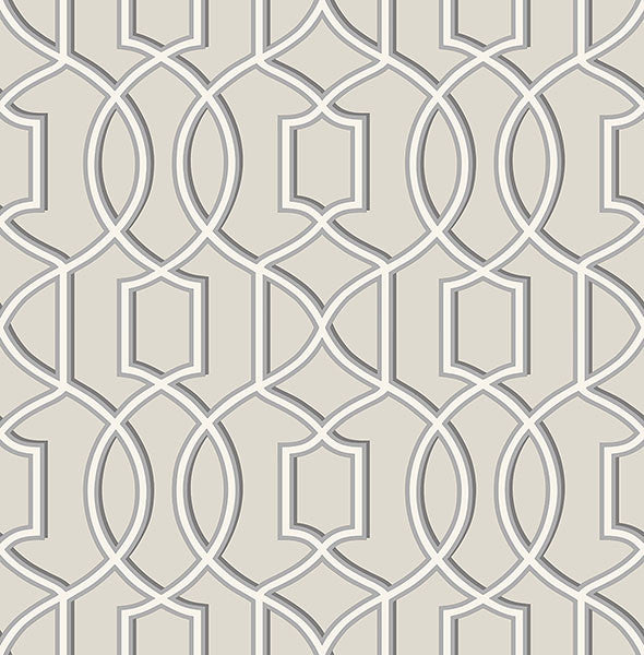 Sample Quantum Grey Trellis Wallpaper from the Symetrie Collection by Brewster Home Fashions