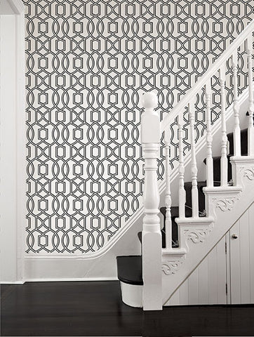 Quantum Blue Trellis Wallpaper from the Symetrie Collection by Brewster Home Fashions