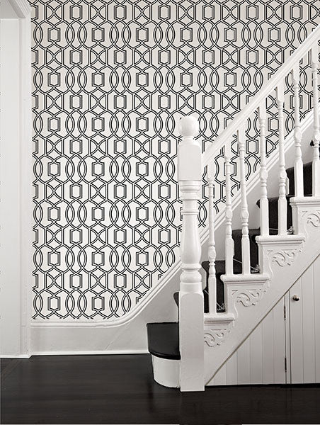 Quantum Sky Trellis Wallpaper from the Symetrie Collection by Brewster Home Fashions