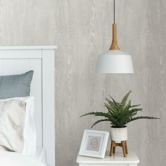 Quarter Sawn Wood Wallpaper in Grey from the Simply Farmhouse Collection by York Wallcoverings