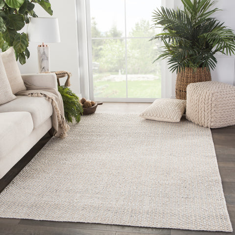 Limon Indoor/ Outdoor Solid Ivory/ Gray Rug by Jaipur Living