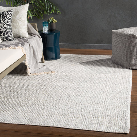 Limon Indoor/ Outdoor Solid Ivory & Gray Area Rug