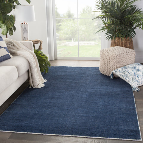 Limon Indoor/ Outdoor Solid Blue/ White Rug by Jaipur Living