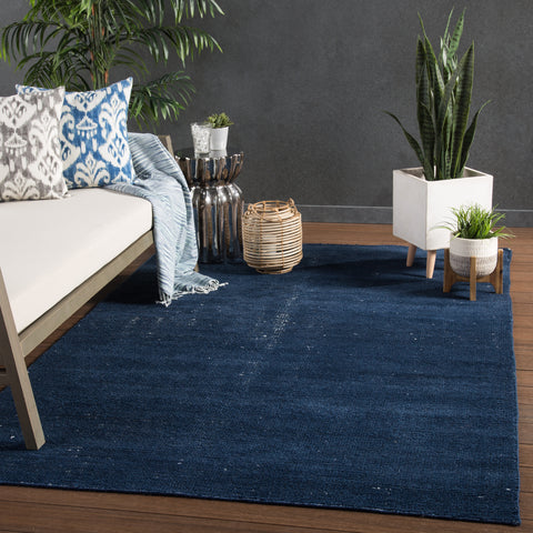 Limon Indoor/ Outdoor Solid Blue & White Area Rug