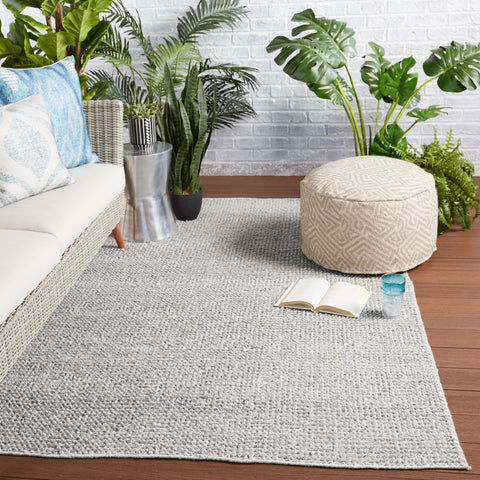 Crispin Indoor/Outdoor Solid Grey & Ivory Rug by Jaipur Living