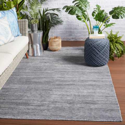 Limon Indoor/Outdoor Solid Grey & Blue Rug by Jaipur Living