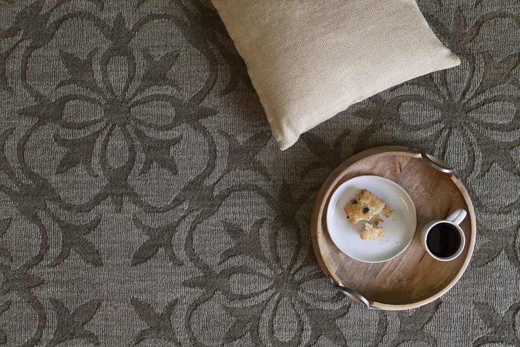 Rekha Collection Hand-Tufted Area Rug in Taupe & Charcoal design by Chandra rugs