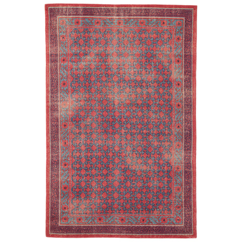 Concord Hand-Knotted Medallion Red & Blue Area Rug