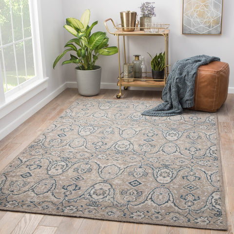 Williamsburg Hand-Knotted Medallion Gray & Navy Area Rug design by Jaipur