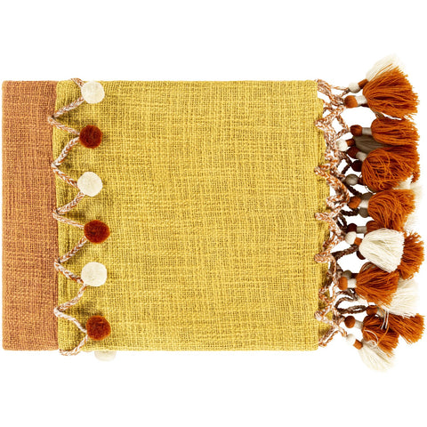 Amarie RIE-1000 Knitted Throw in Burnt Orange & Mustard by Surya