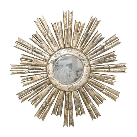 Rinaldo Starburst Mirror in Champagne Silver Leaf w/ Antique Mirror Center design by BD Studio