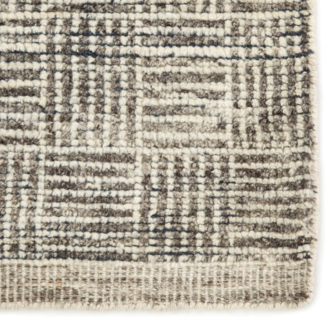Mugler Hand Knotted Geometric Ivory & Black Rug design by Jaipur