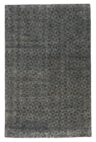 Zaid Hand Knotted Geometric Gray & Black Rug design by Jaipur