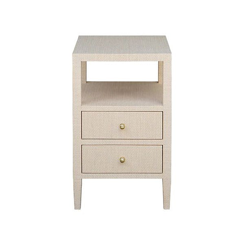 Roscoe Two Drawer Side Table in Natural Grasscloth