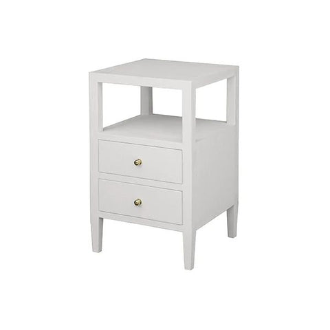 Roscoe Two Drawer Side Table in White Linen