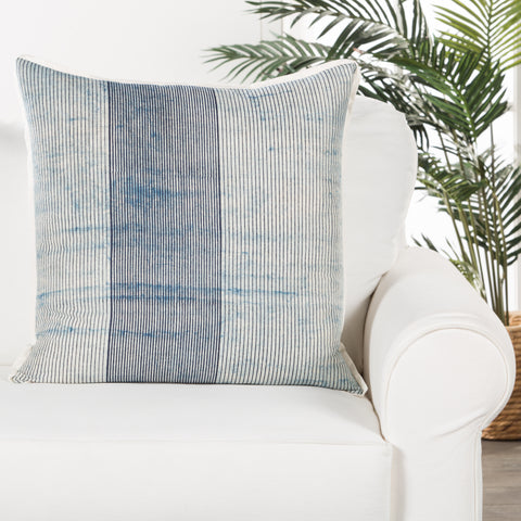 Alicia Handmade Stripe Blue & White Throw Pillow