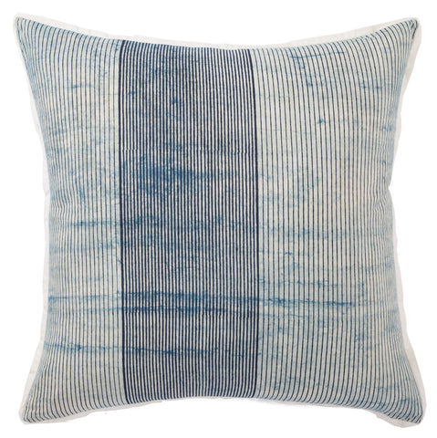 Alicia Handmade Stripe Blue & White Throw Pillow design by Jaipur