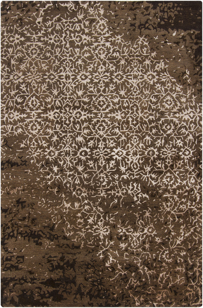 Rupec Collection Wool and Viscose Area Rug in Cream and Brown design by Chandra rugs