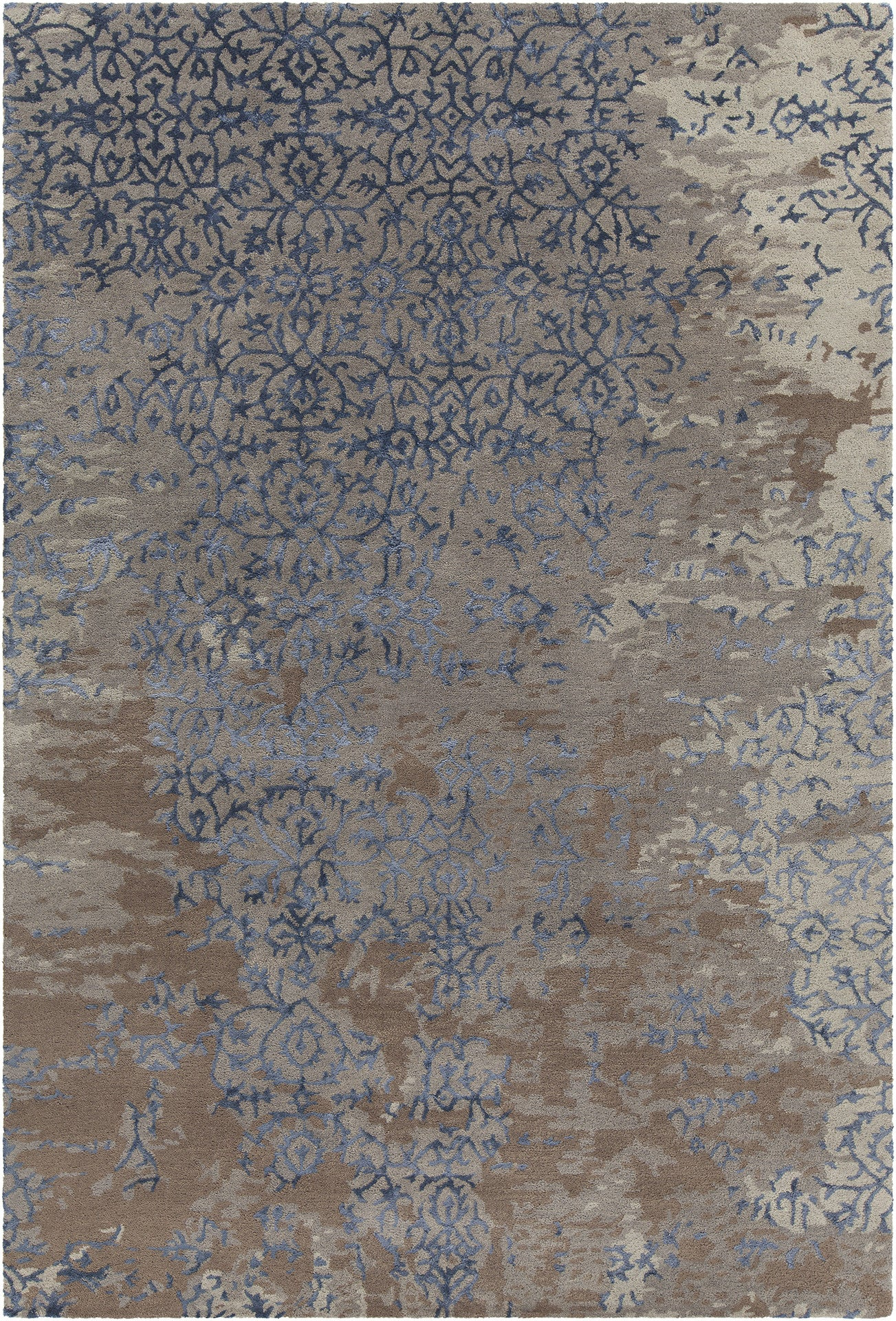 Rupec Collection Hand Tufted Area Rug In Grey Blue