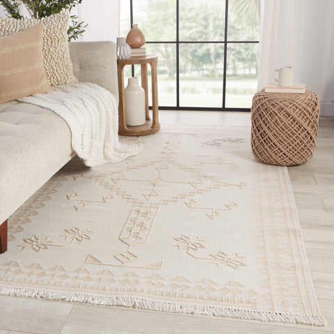 Ollin Indoor/Outdoor Medallion White & Cream Rug by Jaipur Living