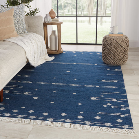 Calli Indoor/Outdoor Geometric Blue & White Rug by Jaipur Living