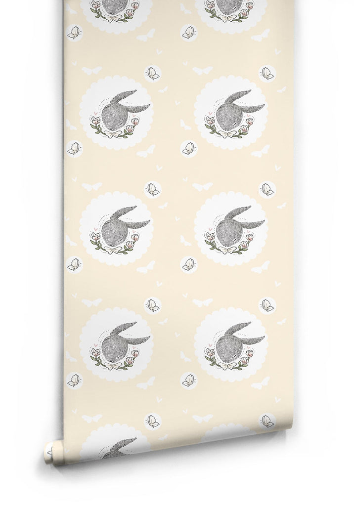 Sample Rabbit & Butterfly Wallpaper by Muffin & Mani for Milton & King