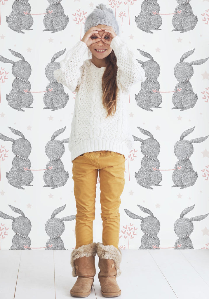 Rabbit Hearts Wallpaper by Muffin & Mani for Milton & King