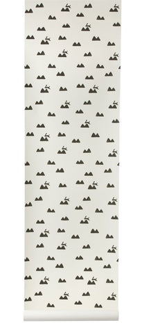 Sample Rabbit Kids Wallpaper in Off-White by Ferm Living
