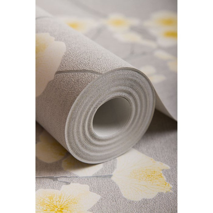 Radiance Wallpaper in Grey and Ochre from